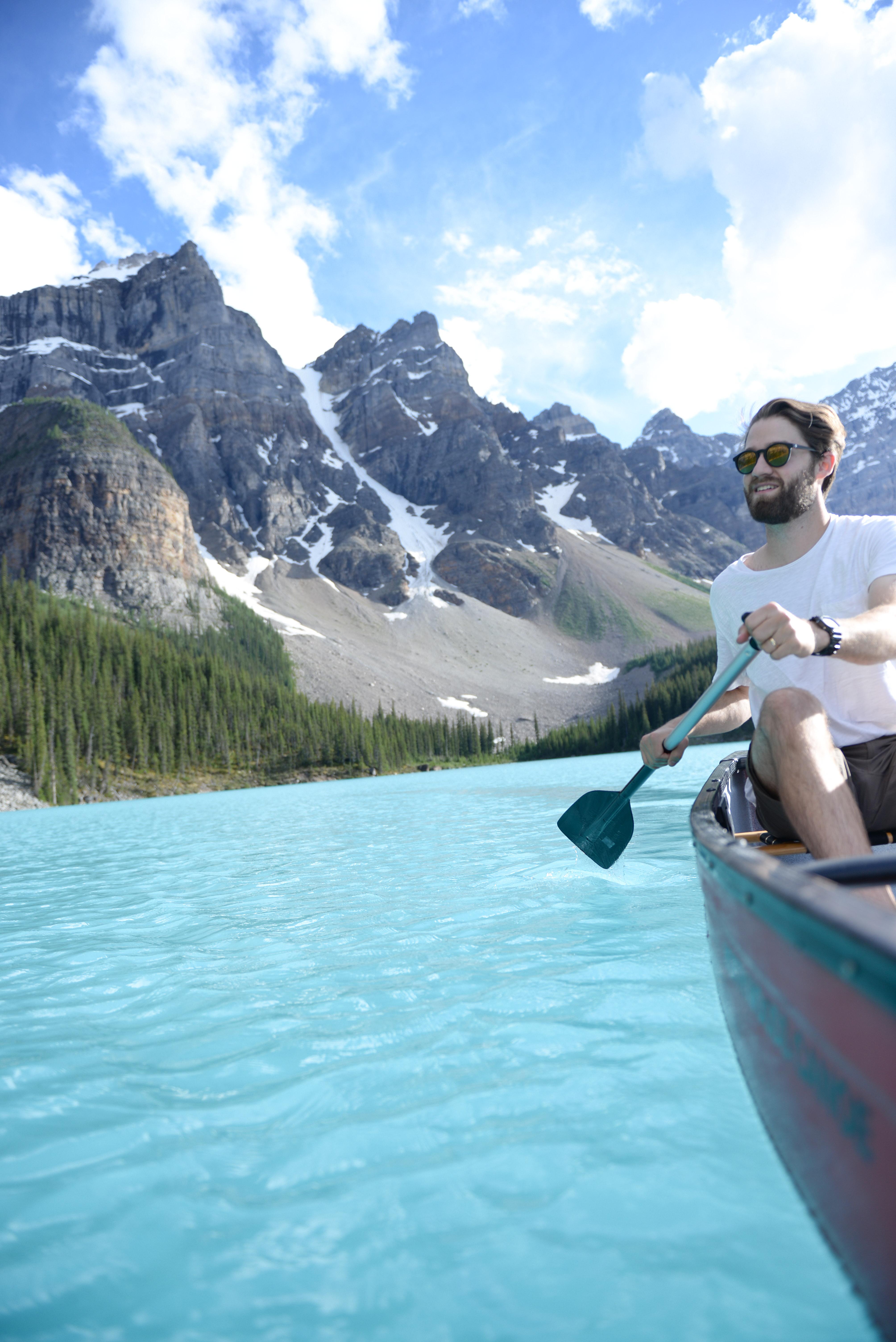 Summer Road Trip to Banff, Alberta - Canoeing Moraine Lake